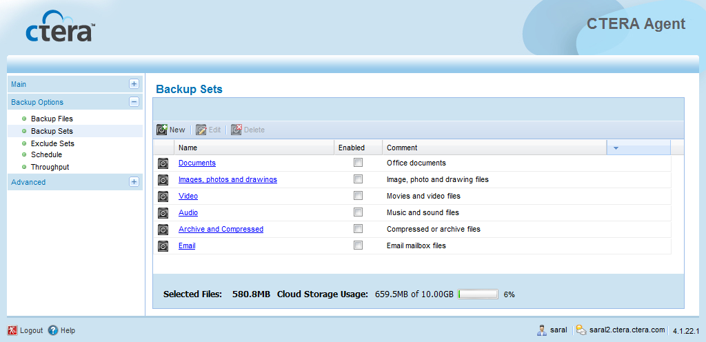 Using the CTERA Agent in Cloud Mode 4 You can use backup sets to fully customize backup operations.