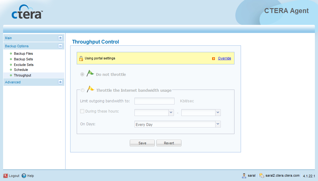 4 Using the CTERA Agent in Cloud Mode Restricting Throughput If desired, you can restrict the amount of bandwidth used for backing up files online.