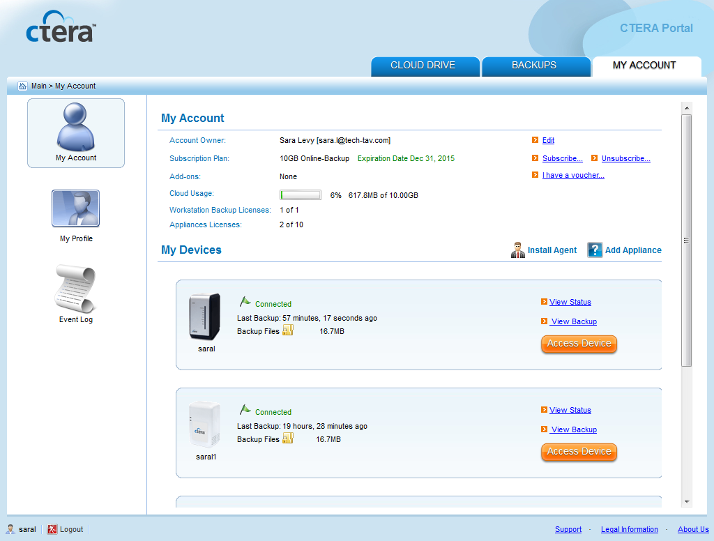 Using the CTERA Agent in Cloud Mode 4 Browsing the Cloud Drive Folder Online You can browse
