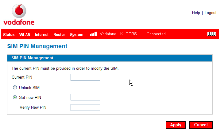 SIM PIN Management (Internet Menu) Advanced Configuration Guide Opening the screen ➊ Open the browser interface.