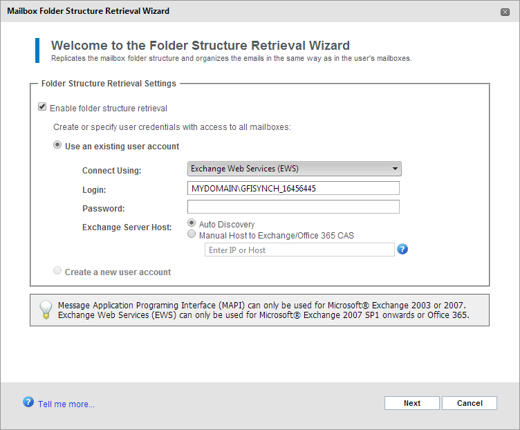 Screenshot 63: Enable folder structure retrieval 3. Select Enable folder structure retrieval. 4. Select whether to automatically create a new user account or whether to use an existing user account.