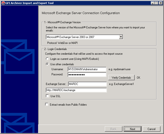 Screenshot 90: Importing from a Microsoft Exchange mailbox 3.