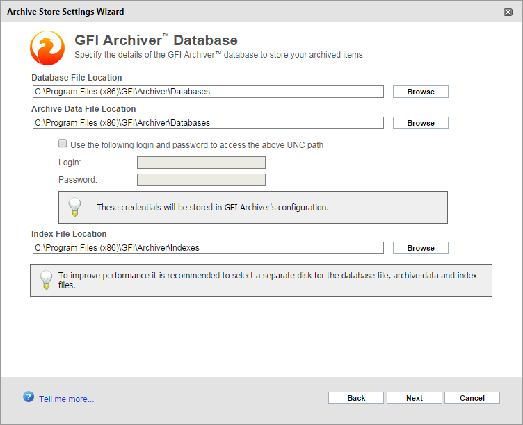 Screenshot 19: Archive Store creation: Select locations 1. Browse and select the Database File, Email File and Search Index locations to use for the GFI Archiver database.