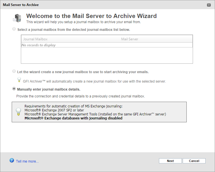 Screenshot 23: Journal Mailbox wizard 2. From the Mail Server to Archive Wizard page, select from the following options: a. Select a journal mailbox from the detected journal mailbox list below.