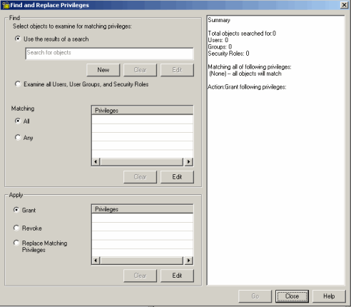For instructions on how to use the Find and Replace Privileges dialog box, see the MicroStrategy Developer Help.