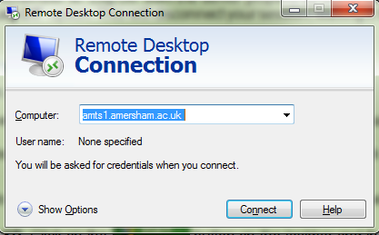 Connecting to Remote Desktop Windows Users How to log into the College Network from Home 1.