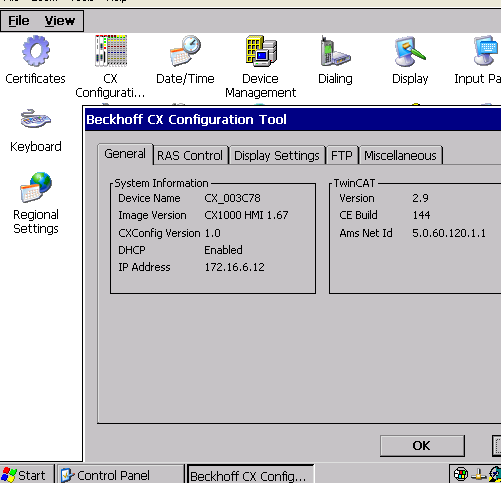 Configuration (User / rights) - Screen resolution - FTP Server (Path / user / rights) -