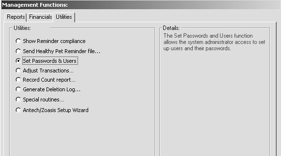 Select Set Passwords and Users, and click OK. The Tool Box dialog displays.