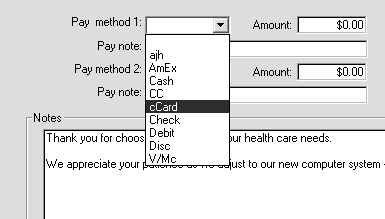 transaction: From the Pay Method drop-down list, select the pay method ccard for credit card or
