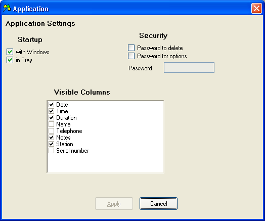 2.8 Application Settings Select Application from the Options menu and you will see this: There are two Startup settings in the Application settings: The On Windows setting will start the program at