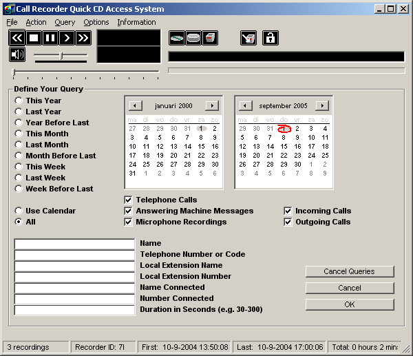 1.8 Search recordings The Call Recorder CD software has an extensive query screen to search and select recordings.