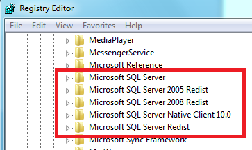 Note: you may have less Microsoft SQL server folder on your computer - From Windows Explorer go to Program Files (and Program Files (x86) on 64bits OS) then right click on Microsoft SQL server