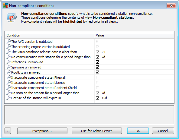 Component states tab Contains an overview of component states on each station. More information on other options and settings can be found in the Configuration/AVG Admin Console chapter. 6.4.1.