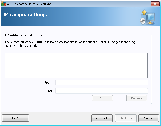 If you choose to add stations according to an IP range, the following dialog will appear: You need to specify the scanning range by entering the IP addresses here.
