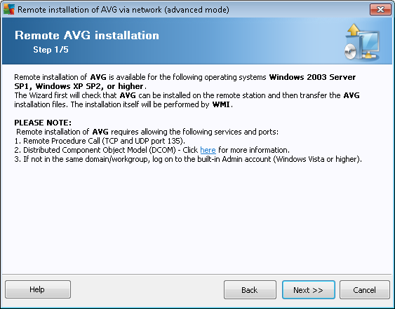 For proper remote installation, the wizard will first check whether AVG is already present on the target station, then transfer the AVG installation files and process the installation accordingly.