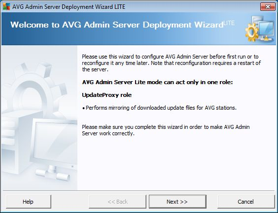 8. AVG Admin Lite AVG Admin Lite is a simplified version of AVG Remote Installation. It contains only the AVG Admin Server Deployment Wizard Lite and the AVG Network Installer Wizard Lite.