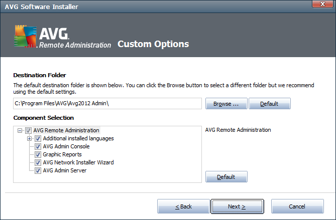 2.6. Custom Options If you chose Custom install in the Installation Type dialog, you will experience the following screen: You have to specify the destination folder where AVG Internet Security