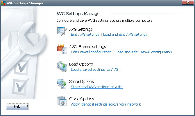 9. AVG Settings Manager Please note: This tool is not included in the AVG Remote Administration and can be found as a part of the AVG (client) installation.