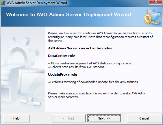 3. AVG Admin Deployment Wizard The AVG Admin Server Deployment Wizard is launched immediately after the installation of AVG Internet Security Business Edition.
