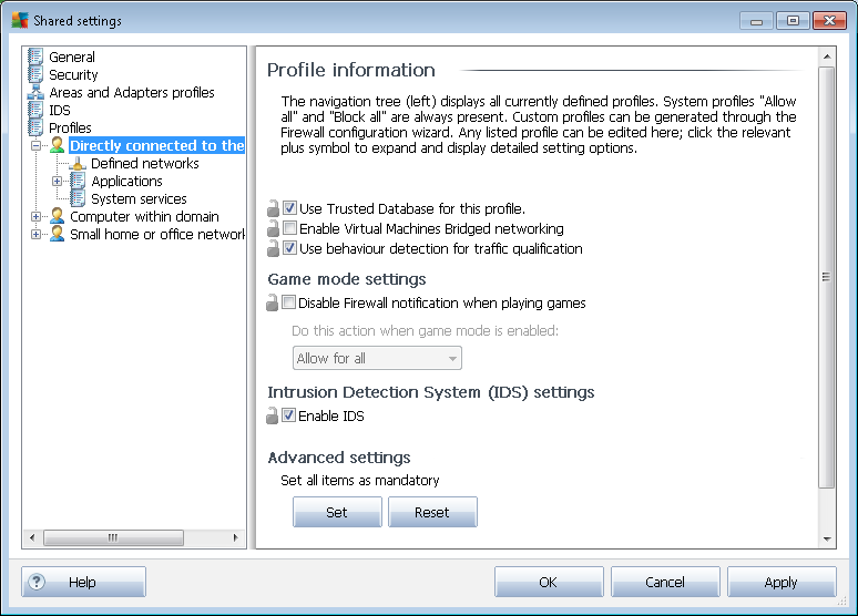 10.2.2. Profiles Firewall profiles can be renamed/deleted/duplicated or imported only within the Shared Firewall settings.