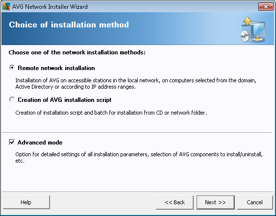 5.2. Installation Method To continue in the Advanced mode check the Advanced mode checkbox, otherwise proceed to the Basic Mode chapter.