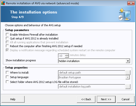 In the Setup parameters section you can choose from the following options: Enable Windows Firewall after installation - in case you are not going to install AVG Firewall component, you can choose to