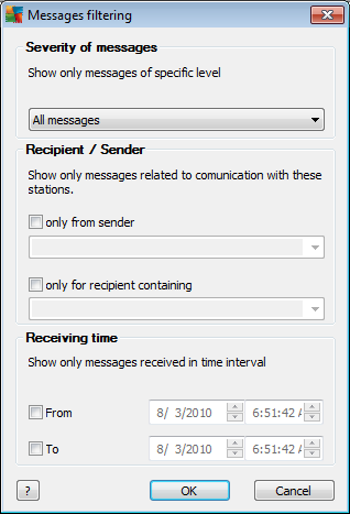 messages. Show errors - The status window will display only error messages. Enable messages filtering This option allows you to filter out messages according to more extensive parameters.