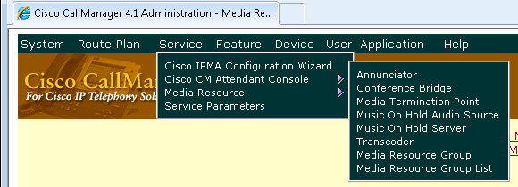4. Return to CallManager Administration. On the Application menu, click the Cisco CallManager Administration option. Media Resource Group 5.