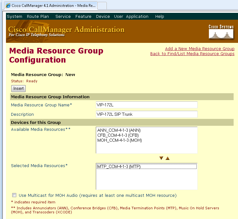 Media Resource Group List 7. The Media Resource Group just created must be included in a Media Resource Group List.
