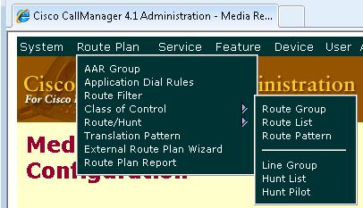 Route Pattern 11. A Route Pattern must be entered to route calls to and from the SIP Trunk. Click the Route Plan menu, then click Route/Hunt, then click Route Pattern.