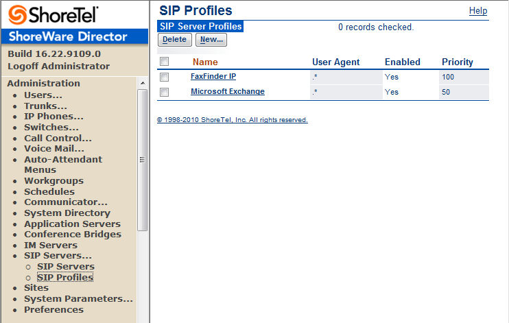 2. Configure the SIP Profile Figure 4 SIP Server SIP Profile a. Click the Administration link to expand the submenus b.