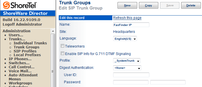 Figure 16 Trunk Groups Administration From the dropdown menus on the Trunk Groups screen, select the site desired and select SIP as the trunk type to configure.