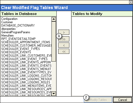 Working with Utilities 29 3.9.1 Clearing modified flags with a database selected Choosing to Clear Modified Flags in One or More Tables opens the Clear Modified Flag Tables Wizard.