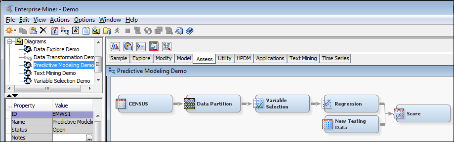 In SAS Enterprise Miner, run the model fitting (Logistics Regression or Decision Tree, etc.) on each of the cross fold subset data sets to get parameter estimates.