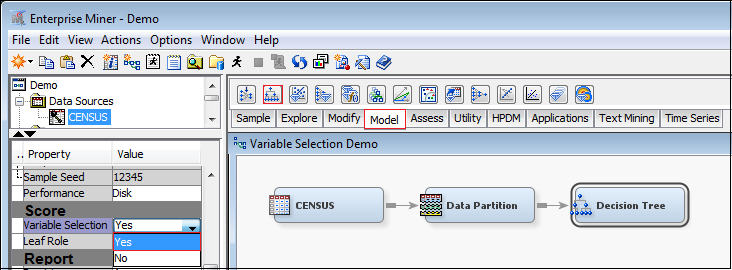 Figure 11. A Variable Selection Example Using Regression node in SAS Enterprise Miner In SAS Enterprise Miner, procedures for selecting variables can use the Decision Tree Node.