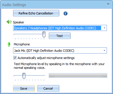 The TurboMeeting presenter enables VoIP audio conferencing by choosing the Use Mic & Speakers audio mode: Audio Modes, Volume meters, Speaking indicator Once Use Mic & Speakers is chosen, each