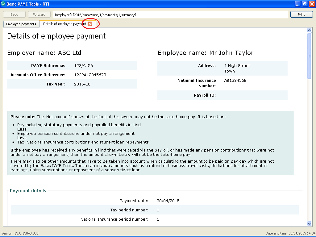 office reference number paye