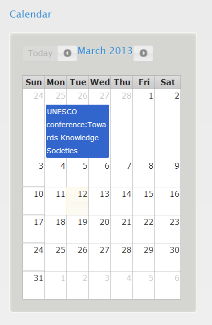 Figure 2-16 Calendar: Announcements of activities The Google calendar page describes the event.