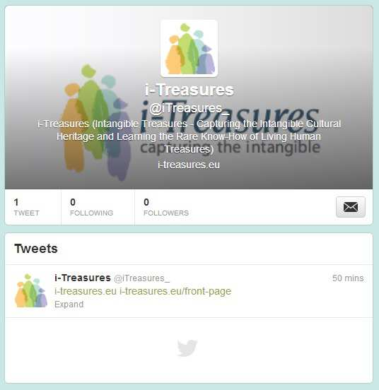Figure 2-20 i-treasures Twitter page At the bottom of the homepage, News