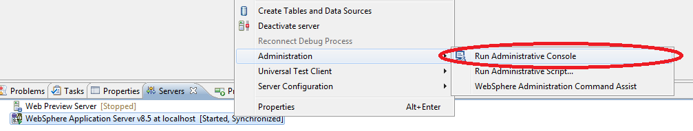 1.30 Open the Servers view and locate the target WAS server (eg WebSphere Application Server v8.5 at localhost). 1.31 Open the context menu on the server definition and select Start.