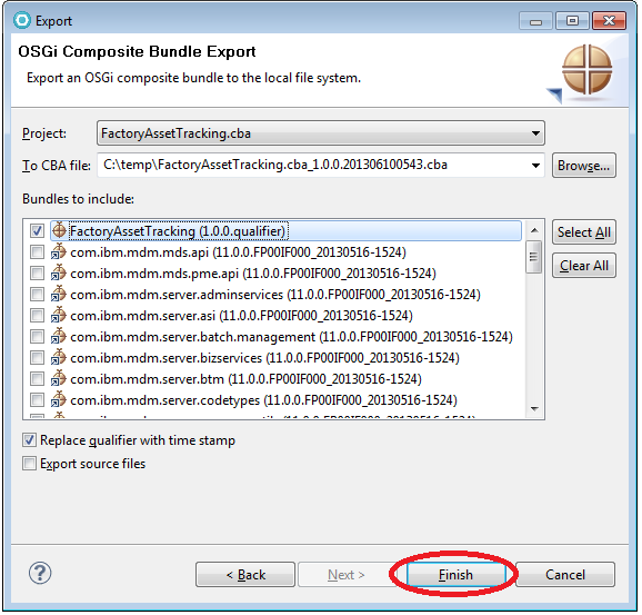 4.3 In the OSGi Composite Bundle Export wizard, click Browse, choose a target location