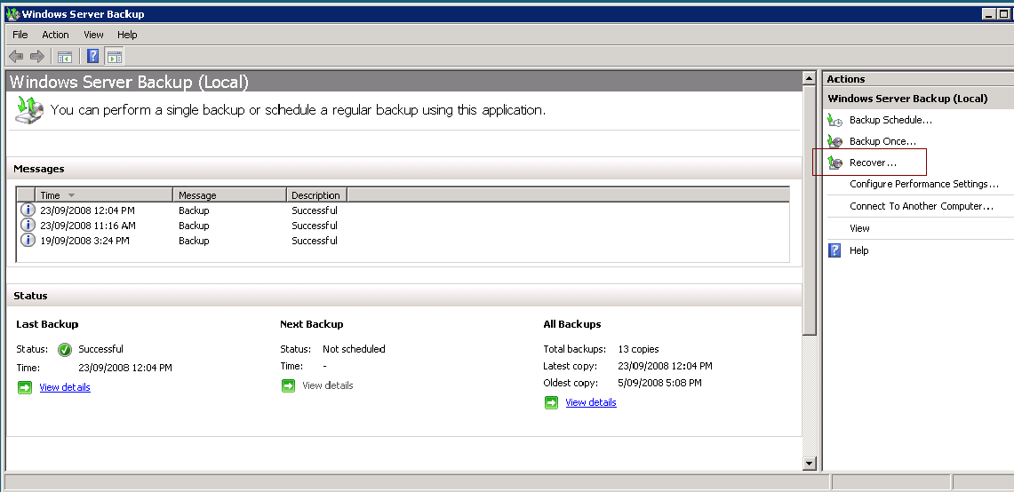 Windows Server 2008 and BackupAssist 7 being restored.