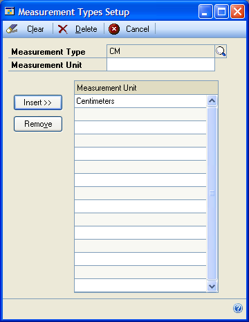 PART 1 QUALITY ASSURANCE To create a measurement type: 1. Open the Measurement Types Setup window. (Cards >> Manufacturing >> Quality Assurance >> Measurements) 2. Enter a measurement type. 3.