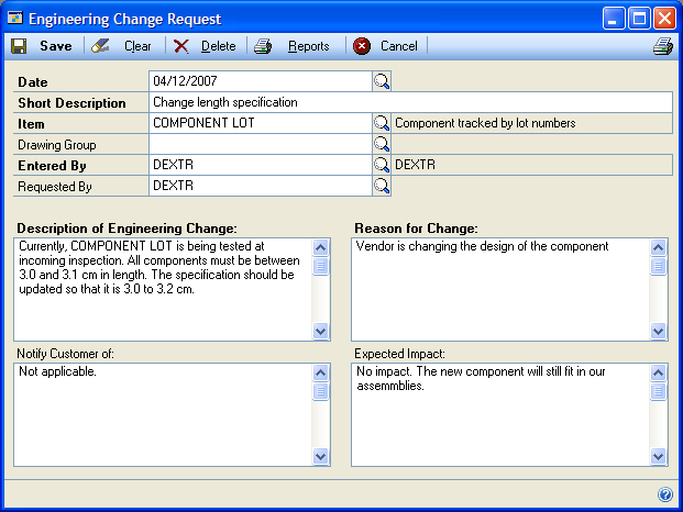 Chapter 9: Change requests After you ve completed the necessary setup tasks, you can begin entering suggestions engineering change requests or ECRs.