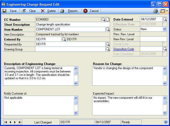 CHAPTER 9 CHANGE REQUESTS Changing the status of a change request You can use the Engineering Change Request Edit window to change the status of a change request.