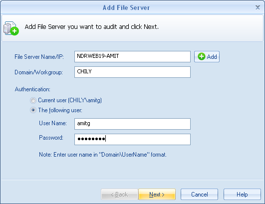 7. Now provide Authentication for the added File Server.