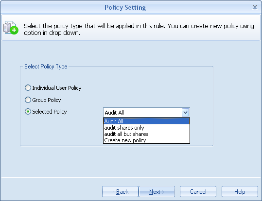LAFS allows you to link Audit policy to both a User and a User Group.
