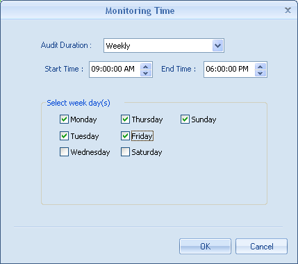 Monitoring Time 21. You can choose when to monitor the selected objects from here. 22. Click Add to choose from Always, Weekly, Daily, Monthly and One Time Only. 23.
