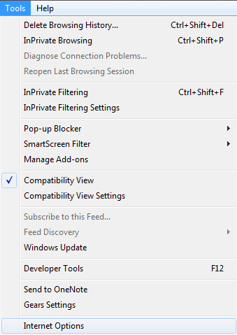 3. From the Tools menu click Internet Options.