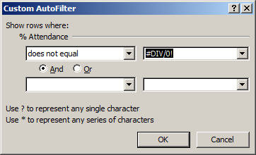 Select =DIV/0! From the drop-down list of values. Click OK. Rows with no values are now hidden. The relevant changes have now been made in Excel.